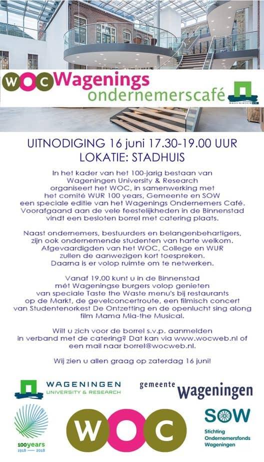 Speciaal Wagenings Ondernemers Café ter gelegenheid van 100 jaar WUR
