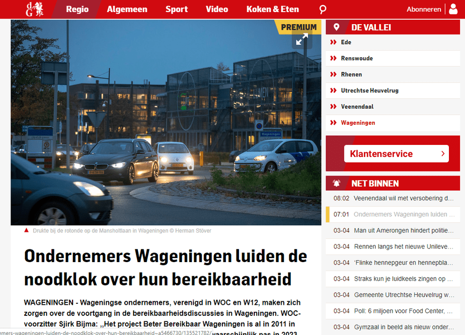 Brief Beter Bereikbaar Wageningen verstuurd aan gemeente namens WOC/W12
